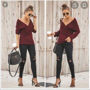 Burgundy wrap sweater